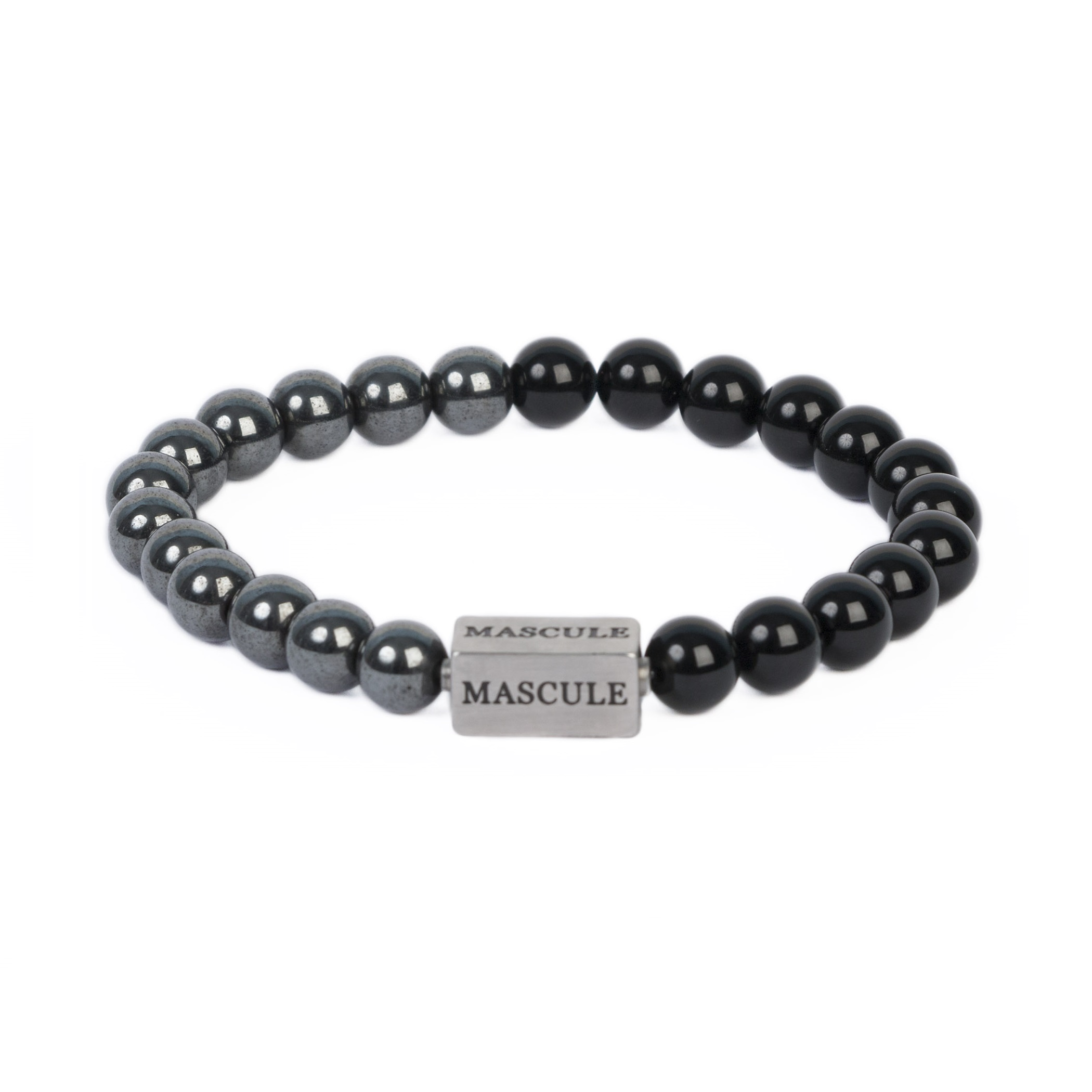 Mens Beaded Bracelet - Krypton_Radiance_Onyx_glossy_hematite_MAS8104_8mm.jpg