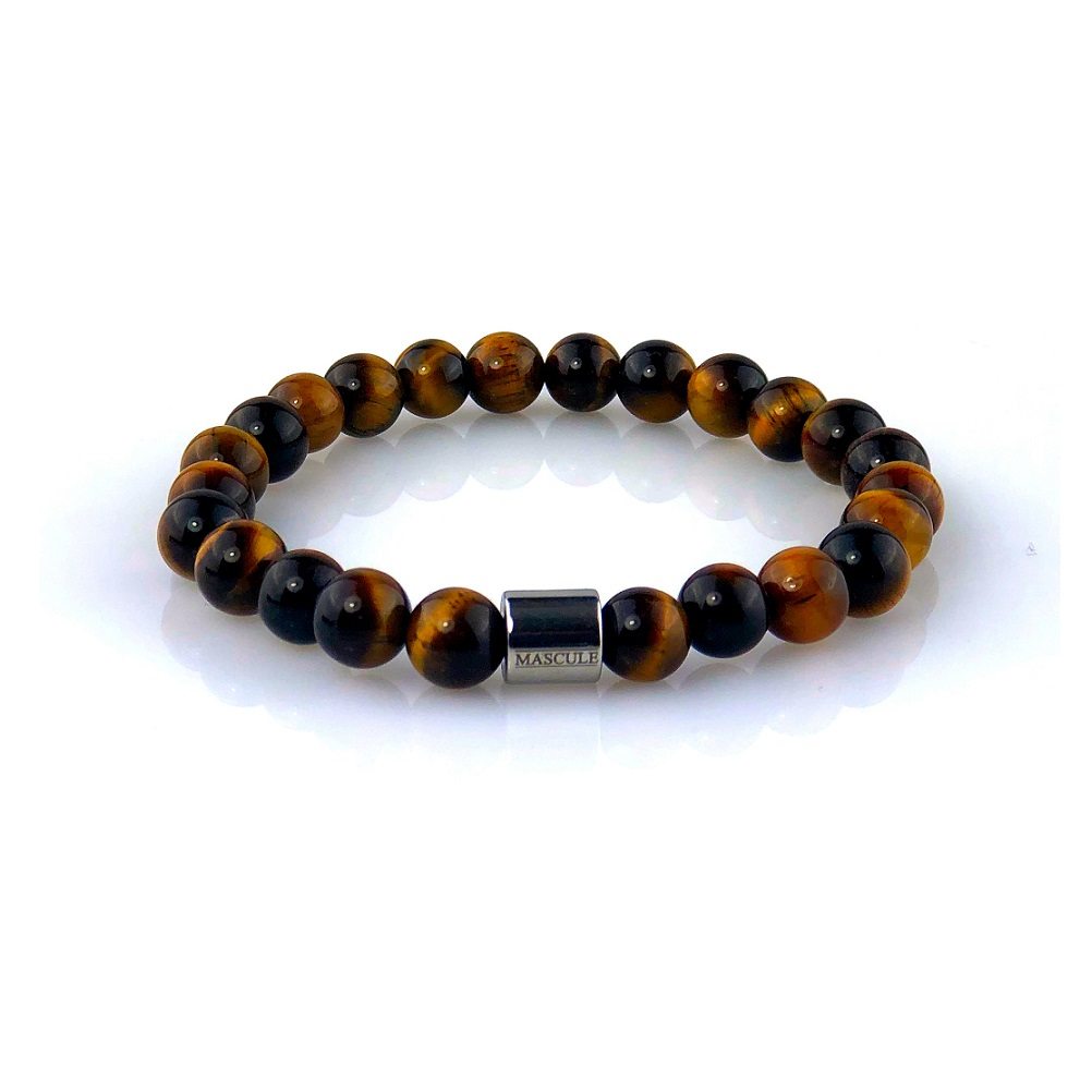 MAS2512-Mens Beaded Bracelet- Tiger Eye - Tigre-Glossy-final