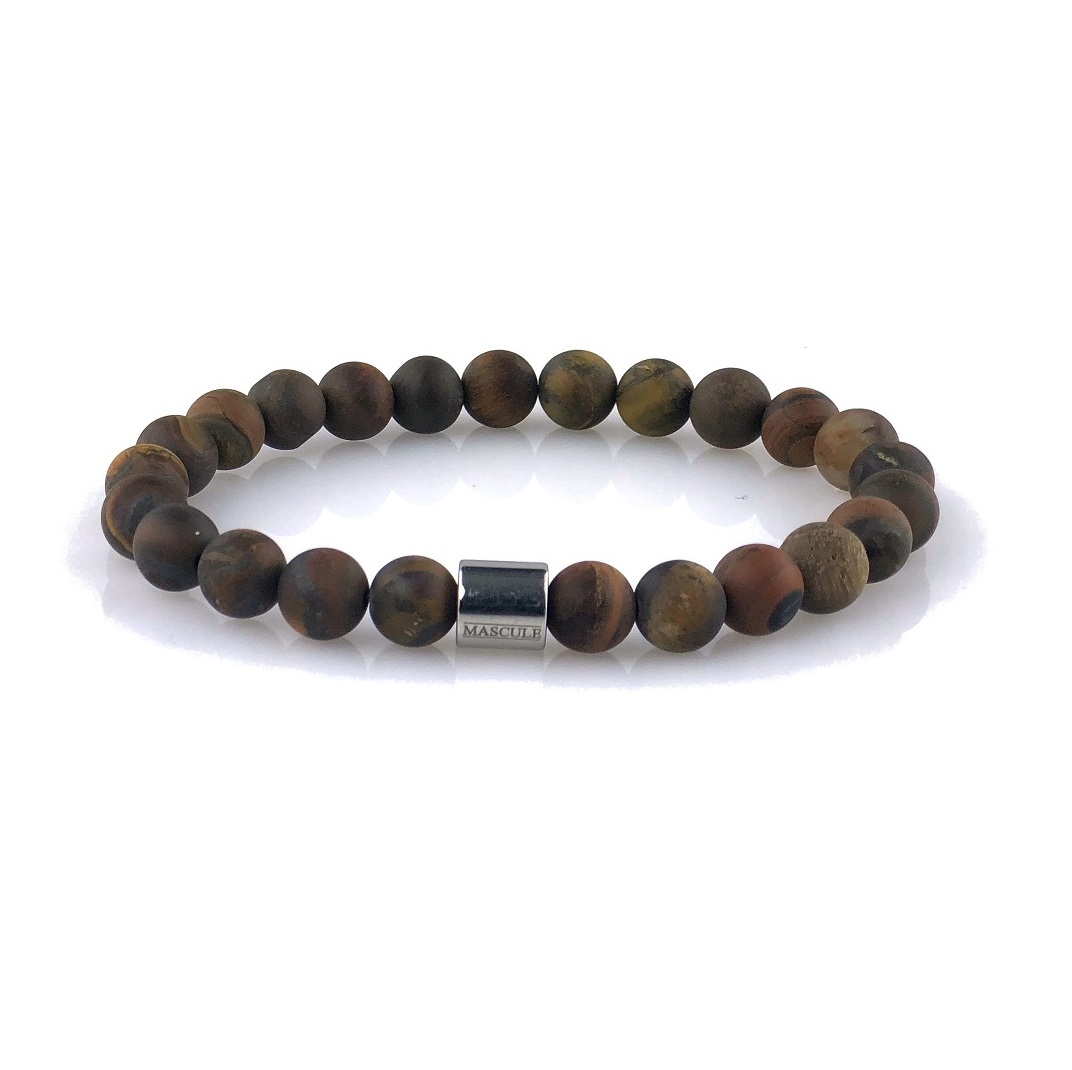 MAS2513 Mens Beaded Bracelet- Tiger Eye - Tigre-Matte-final