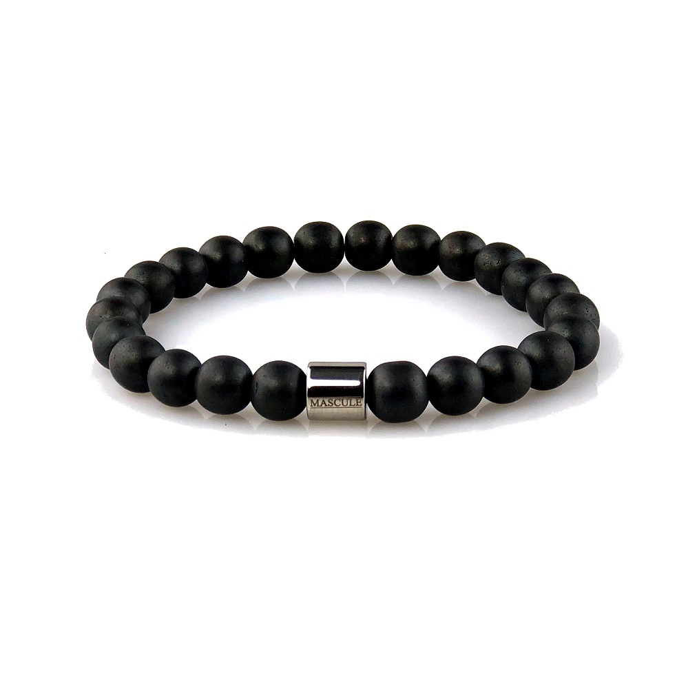 MAS2514 Mens Beaded Bracelet - Hematite Powdercoat - Matte